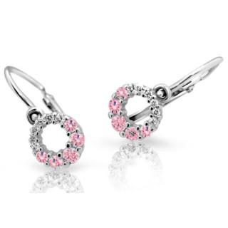 Detské náušnice Cutie Jewellery C2154B Pink -Biele zlato 585/000