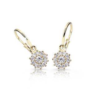 Zlaté náušnice pre bábätko Cutie Jewellery C2749Z CZ White