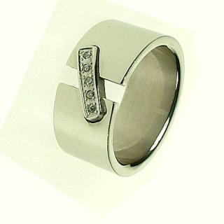 Oceľový prsteň so zirkónmi ZR543
