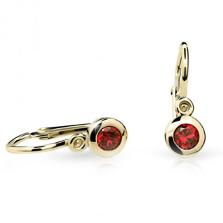 Detské náušnice Cutie Jewellery C1537Z Ruby Dark -Žlte zlato 585/000