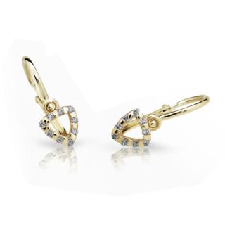 Detské náušnice Cutie Jewellery C2155Z CZ White -Žlte zlato 585/000