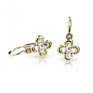 Detské náušnice Cutie Jewellery C2013Z CZ White -Žlté zlato 585/000